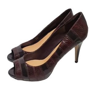 Joey O Peep Toe Maroon Heels Size 8.5 M